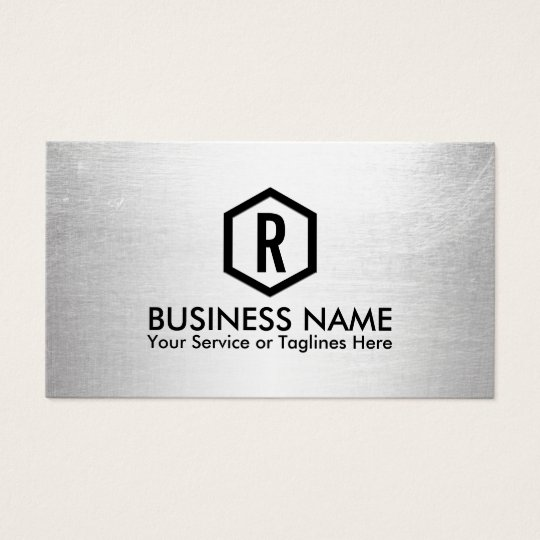 Fitness Trainer Modern Silver Monogram Business Card