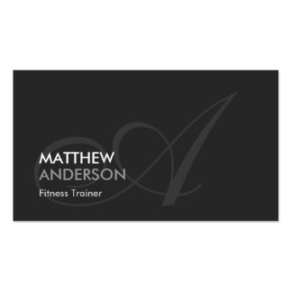 Fitness Trainer - Modern Swash Monogram Double-Sided Standard Business Cards (Pack Of 100)