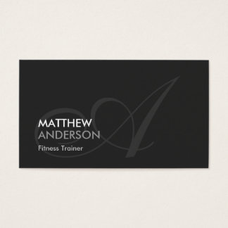 Fitness Trainer - Modern Swash Monogram Business Card