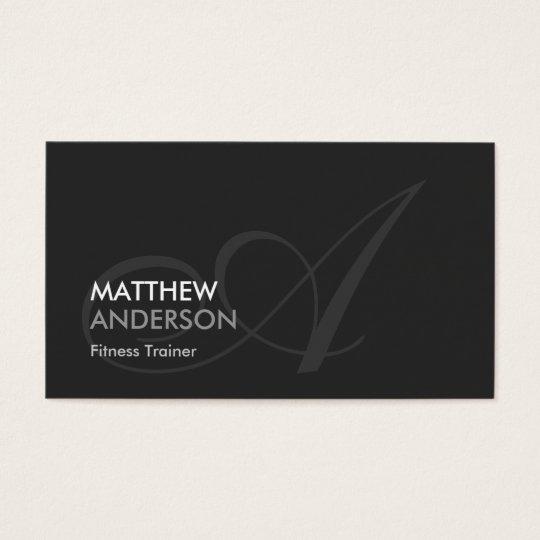 Fitness Trainer - Modern Swash Monogram Business Card