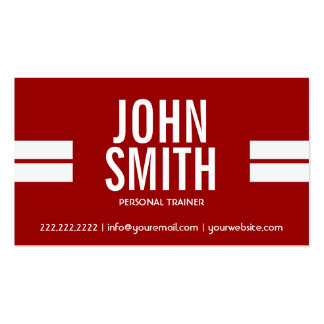 Fitness Trainer Red Sport Stripes Modern Pack Of Standard Business Cards