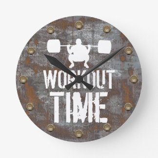 Fitness Training Workout Time Rusty Metal Plate Round Clock