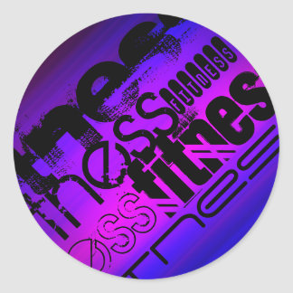 Fitness; Vibrant Violet Blue and Magenta Round Sticker