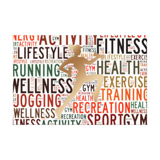 Fitness words canvas print