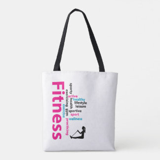 Fitness words tote bag