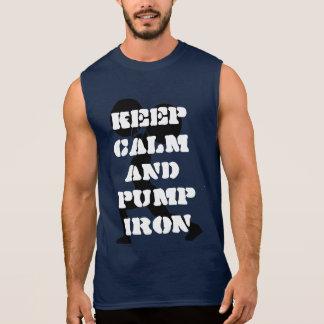 Fitness workout keep calm and pump iron sleeveless t-shirts