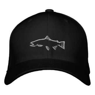 Fitted Trout Tracker Hat - Black Baseball Cap