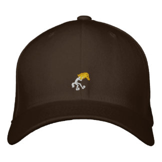 Fitted Yellow Horse Cap Embroidered Hat