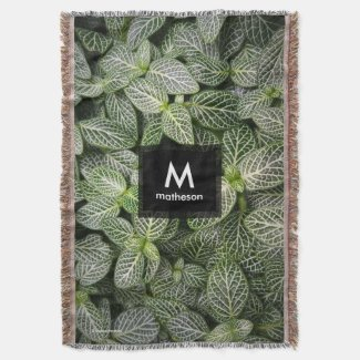Fittonia Mosaic Plant with Variegated Leaves Throw Blanket