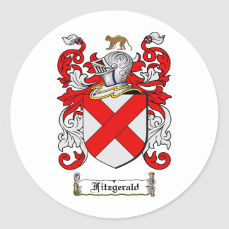 FITZGERALD FAMILY CREST -  FITZGERALD COAT OF ARMS ROUND STICKER