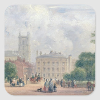 Fitzroy Square, London (oil on panel) Square Stickers