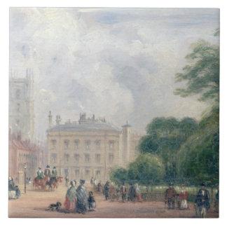 Fitzroy Square, London (oil on panel) Large Square Tile