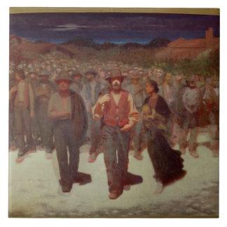 Fiumana (The Human Tide) 1895-96 (oil on canvas) Large Square Tile
