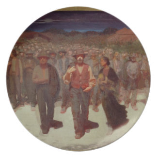 Fiumana (The Human Tide) 1895-96 (oil on canvas) Party Plates