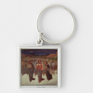Fiumana (The Human Tide) 1895-96 (oil on canvas) Silver-Colored Square Key Ring