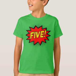 FIVE! 5th Birthday Gift Superhero Logo T-Shirt
