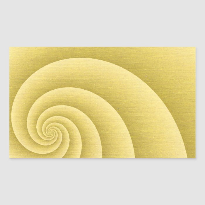 Five Arms Spiral in Gold brushed metal texture Rectangular Sticker