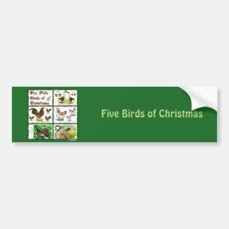 Five Birds of Christmas Bumper Sticker