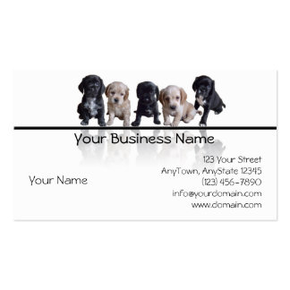 Five Black and Tan Cocker Spaniel Puppies Business Card Template