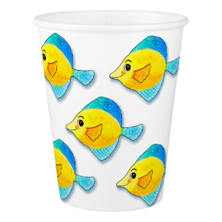Five Blue and Yellow Fish Grouping Customizable Paper Cup