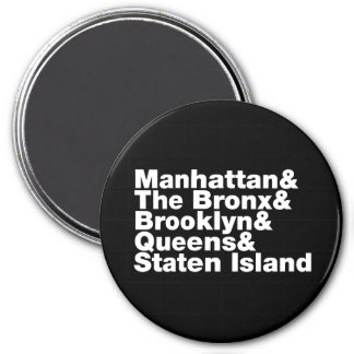 Five Boroughs ~ New York City 7.5 Cm Round Magnet