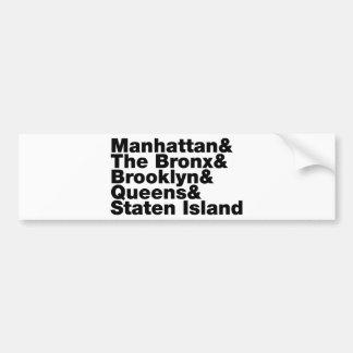 Five Boroughs ~ New York City Bumper Sticker