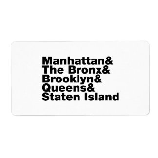 Five Boroughs ~ New York City Shipping Label
