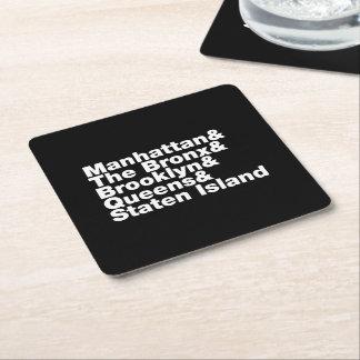 Five Boroughs ~ New York City Square Paper Coaster