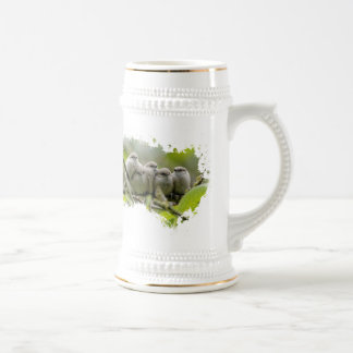 Five Bushtits Huddling in the Cold and Rain Beer Stein