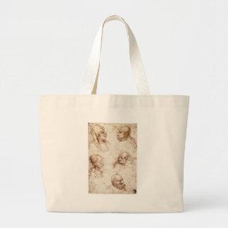 Five caricature heads by Leonardo da Vinci Jumbo Tote Bag