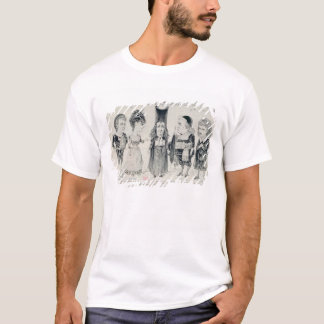 Five caricatures of the cast of a French T-Shirt