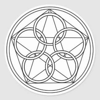 Five Circles Star Classic Round Sticker