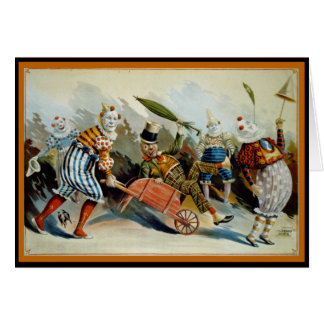 Five Clowns Greeting Card