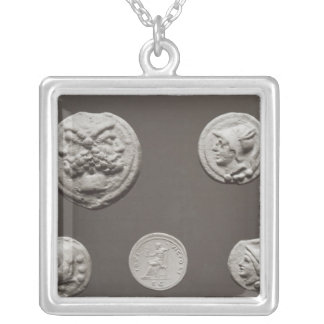 Five coins silver plated necklace