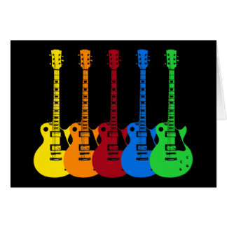 Five Colorful Electric Guitars Greeting Card