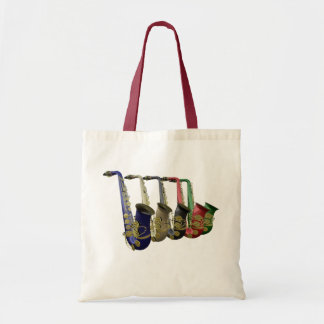 Five Colorful Saxophones Canvas Crafts Shopping Canvas Bags