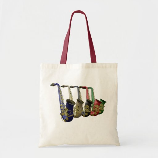 Five Colorful Saxophones Canvas Crafts & Shopping Canvas Bags