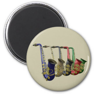 Five Colorful Saxophones In A Line 6 Cm Round Magnet