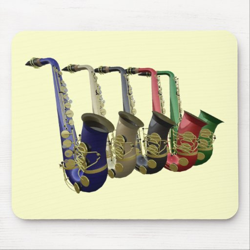 Five Colorful Saxophones In A Line Mousepad