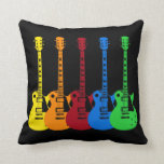Five Colourful Electric Guitars Cushion