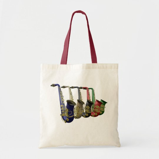 Five Colourful Saxophones Canvas Crafts & Shopping Tote