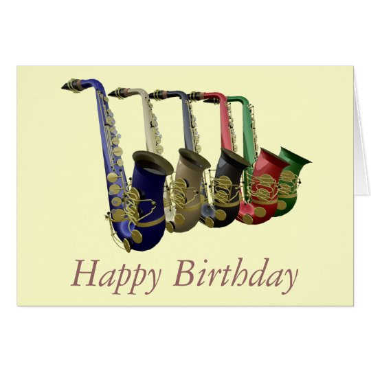 Five Colourful Saxophones Happy Birthday Card