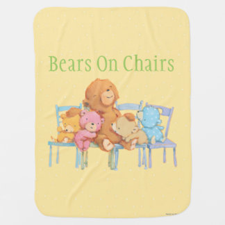 Five Cuddly and Colorful Bears On Chairs 2 Baby Blanket