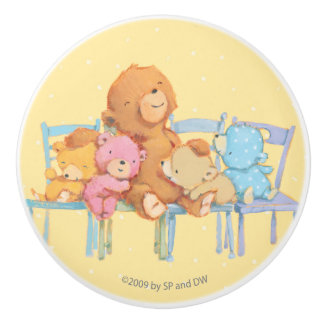 Five Cuddly and Colorful Bears On Chairs 2 Ceramic Knob