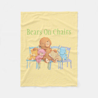 Five Cuddly and Colorful Bears On Chairs 2 Fleece Blanket