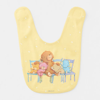 Five Cuddly and Colorful Bears On Chairs Bib
