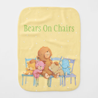 Five Cuddly and Colorful Bears On Chairs Burp Cloth