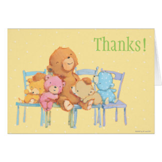 Five Cuddly and Colorful Bears On Chairs Card