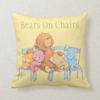 Five Cuddly and Colorful Bears On Chairs Cushion