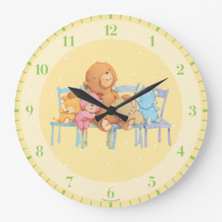 Five Cuddly and Colorful Bears On Chairs Large Clock